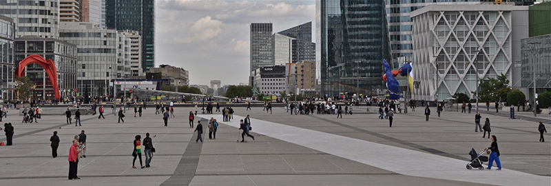 Paris Old and New - Arc de Triomphe from La Defence by Jon Orme